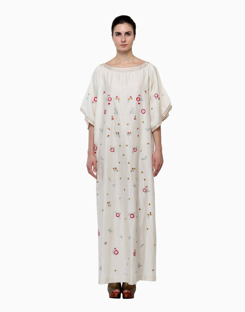 Samant Chauhan - Ivory Boat-Neck Embroidered Kaftan - INDIASPOPUP.COM