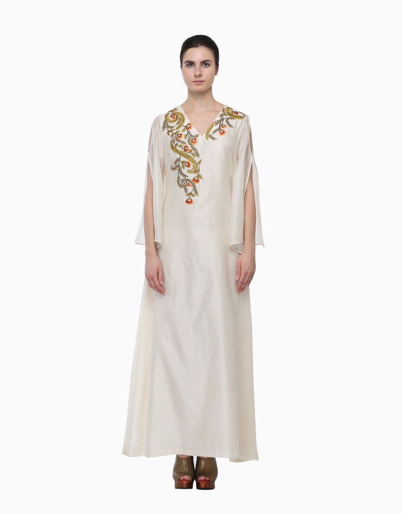 Samant Chauhan - Ivory Cut-Out Sleeves Dress - INDIASPOPUP.COM