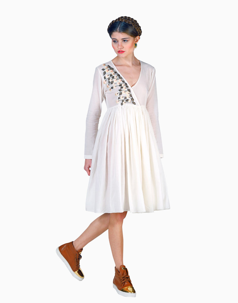SAMANT CHAUHAN IVORY OVERLAP GATHERED DRESS