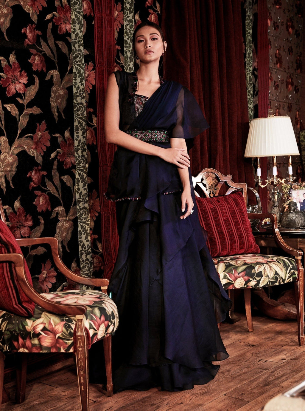 Navy Blue Ruffled Saree With Jacket