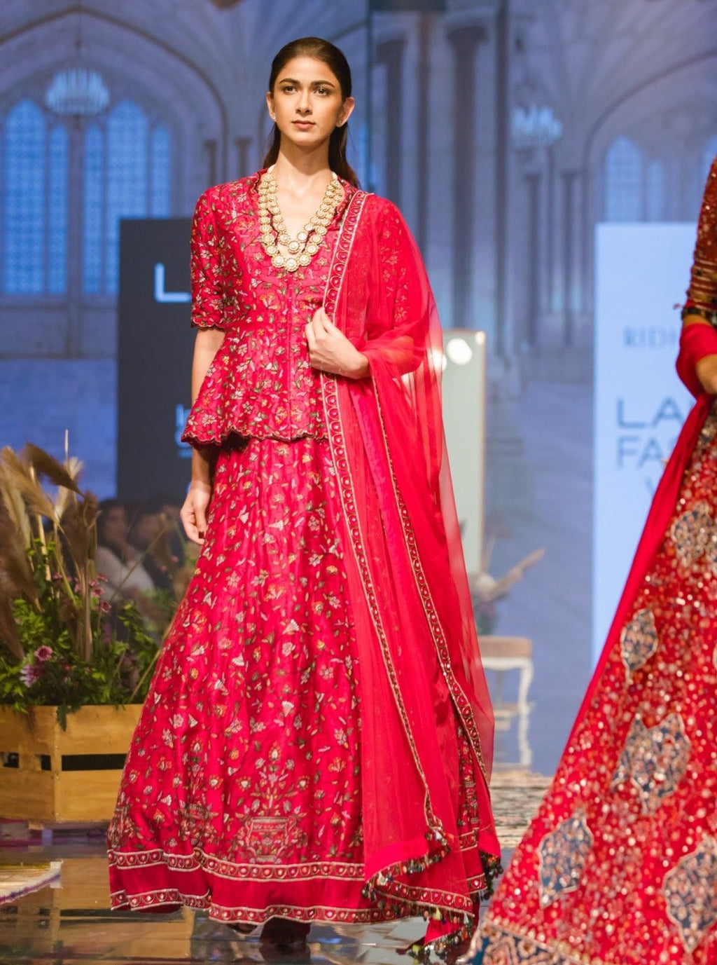 Deep Fuschia Lehenga Set With Peplum