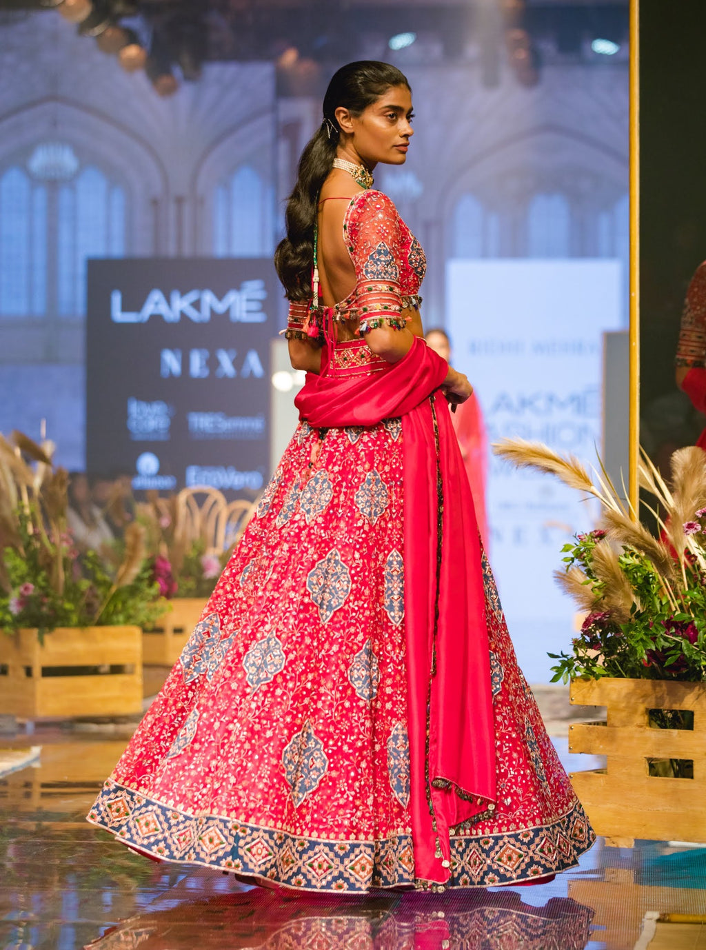 Fuschia Embroidered Lehenga Set