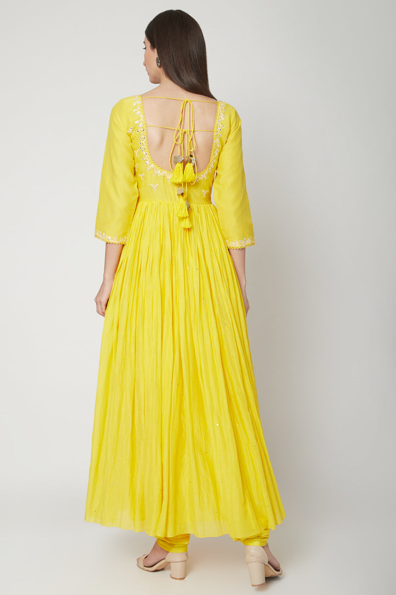 Ruchira Nangalia-Yellow Anarkali Set With Dupatta-INDIASPOPUP.COM
