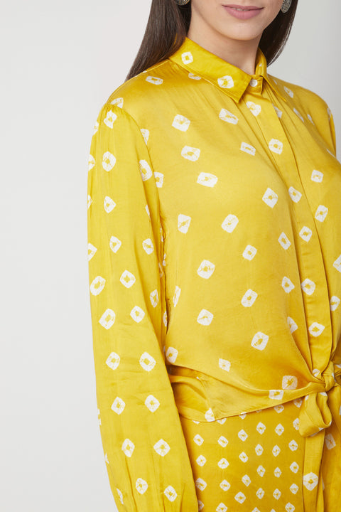 Ruchira Nangalia-Yellow Knotted Shirt With Pants-INDIASPOPUP.COM