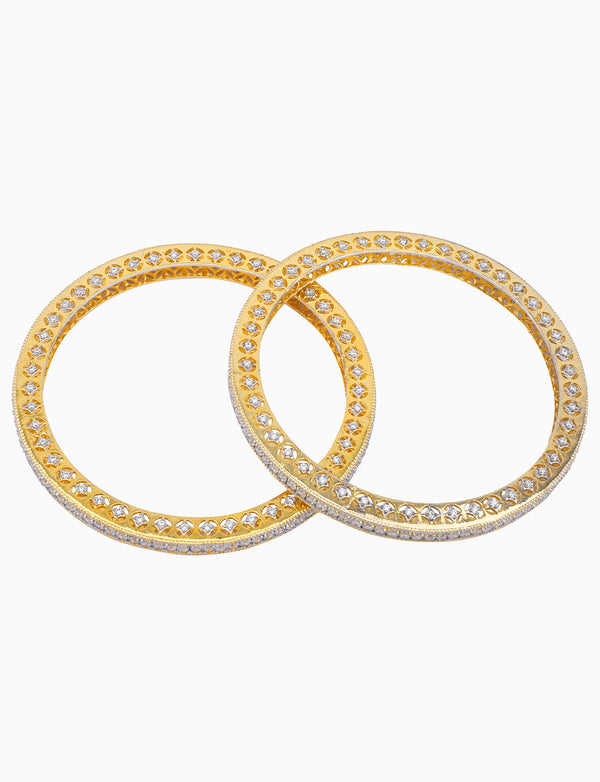 Rose Jewelry - Gold Plated Zircons Studded Bangles - INDIASPOPUP.COM