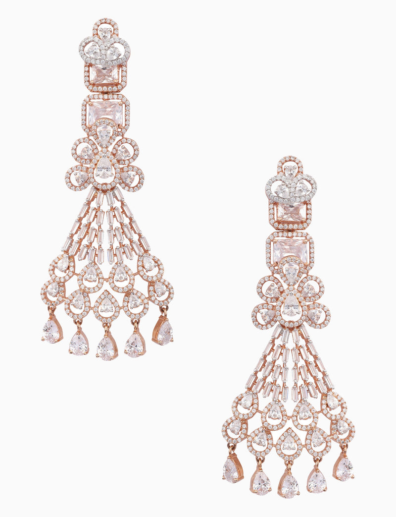 Rose Jewelry - White & Gold Plated Long Earrings - INDIASPOPUP.COM