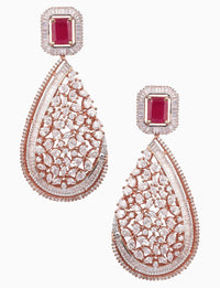 Rose Jewelry - Red & Gold Plated Zircons Earrings - INDIASPOPUP.COM