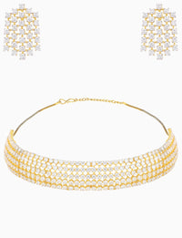 Rose Jewelry - White & Gold Plated Choker Necklace Set - INDIASPOPUP.COM