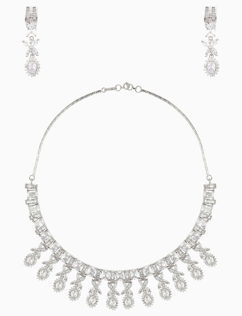 Rose Jewelry - Silver Plated White Sapphire Necklace Set - INDIASPOPUP.COM