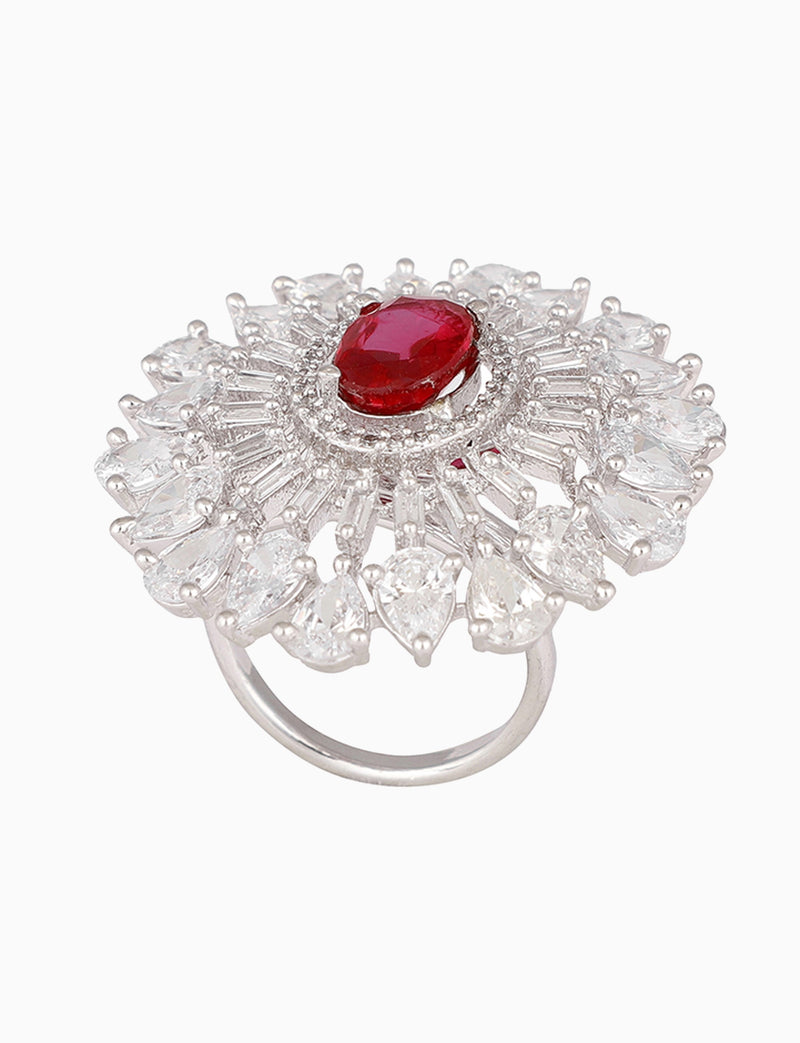 Rose Jewelry - Silver Plated Earring & Ring With A Ruby - INDIASPOPUP.COM