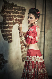 The Little Black Bow - Red Embroidery Bridal Lehenga Set - INDIASPOPUP.COM