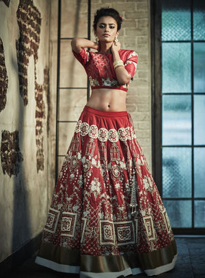 Red Embroidery Bridal Lehenga Set