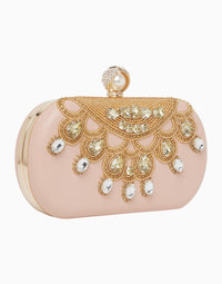 Richa Gupta-Pink Embroidered Leather Clutch-INDIASPOPUP.COM