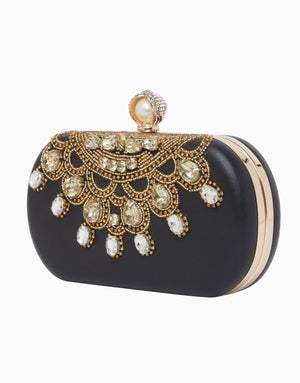 Richa Gupta-Black Embroidered Leather Clutch-INDIASPOPUP.COM