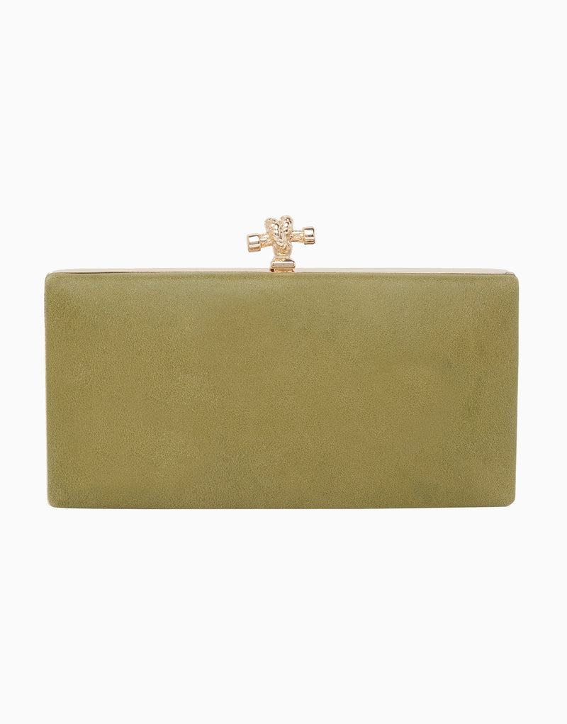 Richa Gupta-Green Embroidered Leather Clutch-INDIASPOPUP.COM