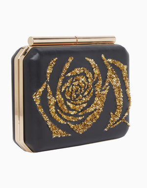 Richa Gupta-Black & Gold Leather Clutch-INDIASPOPUP.COM