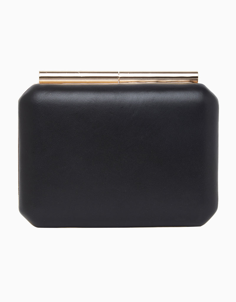 Richa Gupta-Black & Deep Pink Leather Clutch-INDIASPOPUP.COM