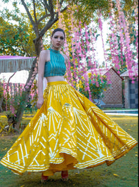 Yellow & Teal green Crop Top With Skirt