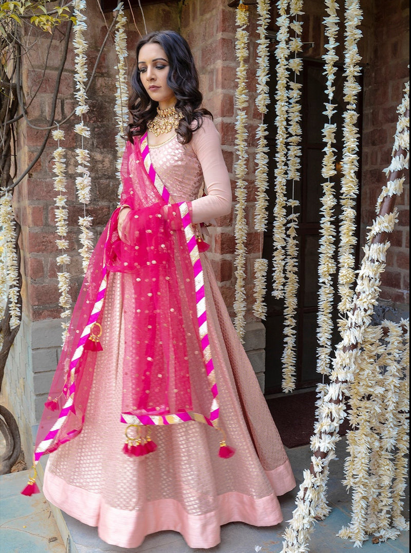 Pink Chanderi Anarkali Set
