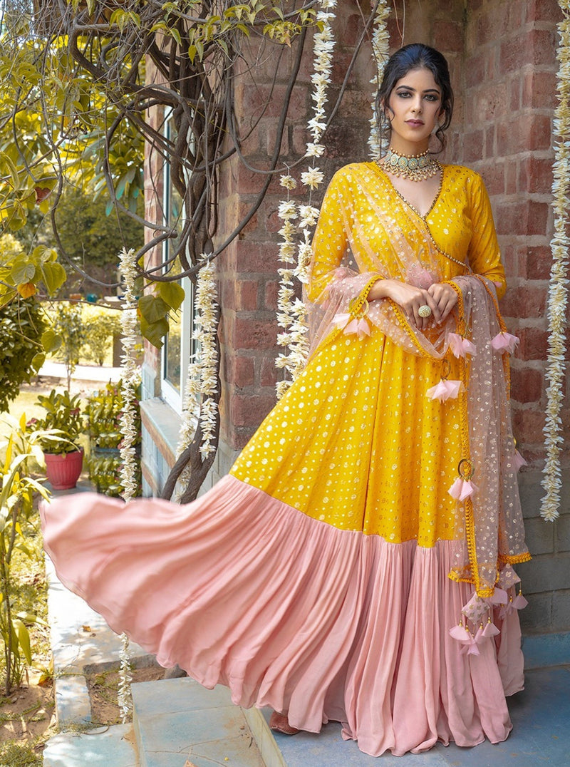 Yellow & Blush Pink Angarkha Set