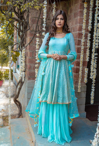 Baby Blue Chanderi Anarkali Set