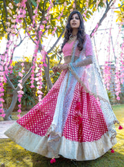 Deep Pink & Ocean Blue Lehenga Set