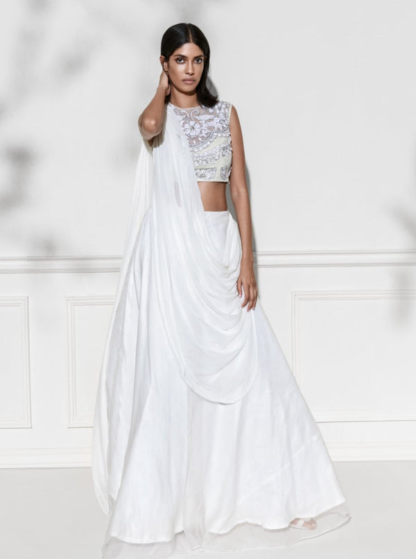 Rozina - White Embroidered Organza Draped Lehenga Set - INDIASPOPUP.COM
