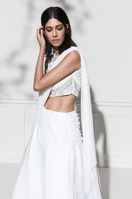 ROZINA WHITE EMBROIDERED ORGANZA DRAPED LEHENGA SET