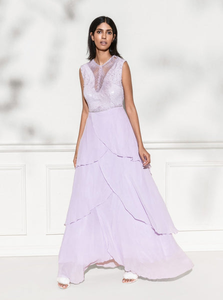 ROZINA LILAC LAYERED SEQUINS GOWN