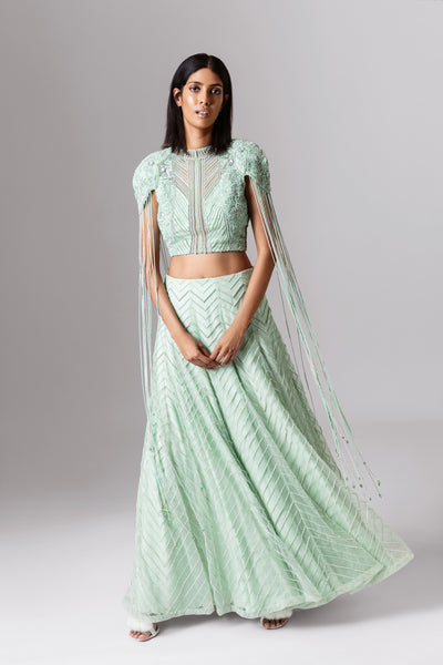 ROZINA GREEN BEAD EMBROIDERED LEHENGA