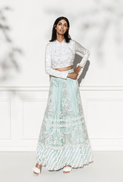 ROZINA OFF-WHITE & GREEN CRYSTAL EMBROIDERED LEHENGA