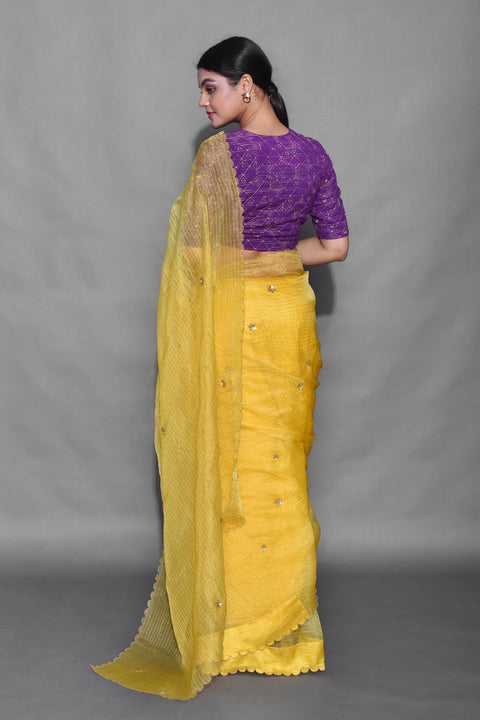 Label Earthen-Yellow & Purple Saree With Blouse-INDIASPOPUP.COM