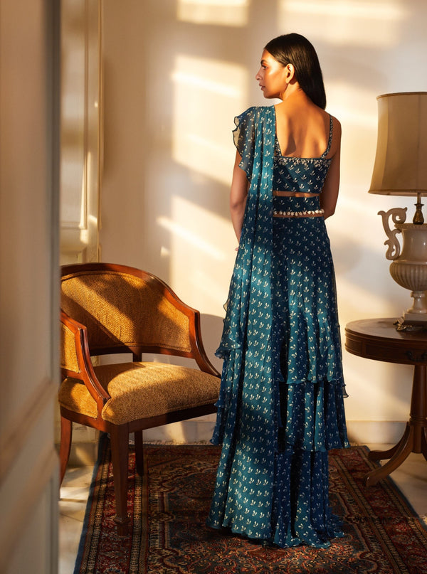 Sana Barreja-Blue Embroidered Saree & Blouse With Belt-INDIASPOPUP.COM