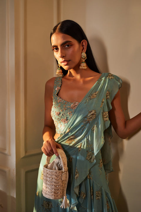 Sana Barreja-Green Embroidered Saree & Blouse-INDIASPOPUP.COM