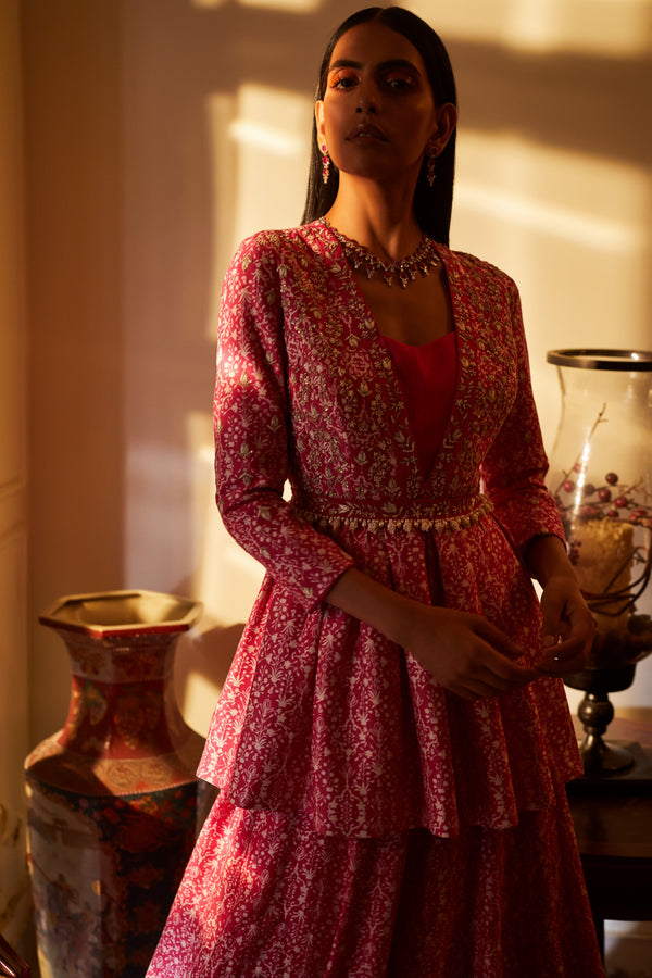 Sana Barreja - Fuchsia Peplum With Skirt & Belt - INDIASPOPUP.COM