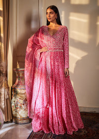 Sana Barreja - Fuchsia Embroidered Anarkali With Belt - INDIASPOPUP.COM