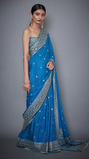 Ri.Ritu Kumar-Turquoise Saree With Unstitched Blouse-INDIASPOPUP.COM