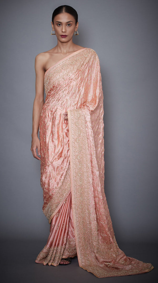 Ri.Ritu Kumar-Peach Silk Saree With Unstitched Blouse-INDIASPOPUP.COM