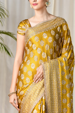 Ritu Kumar - Yellow Embroidered Saree - INDIASPOPUP.COM
