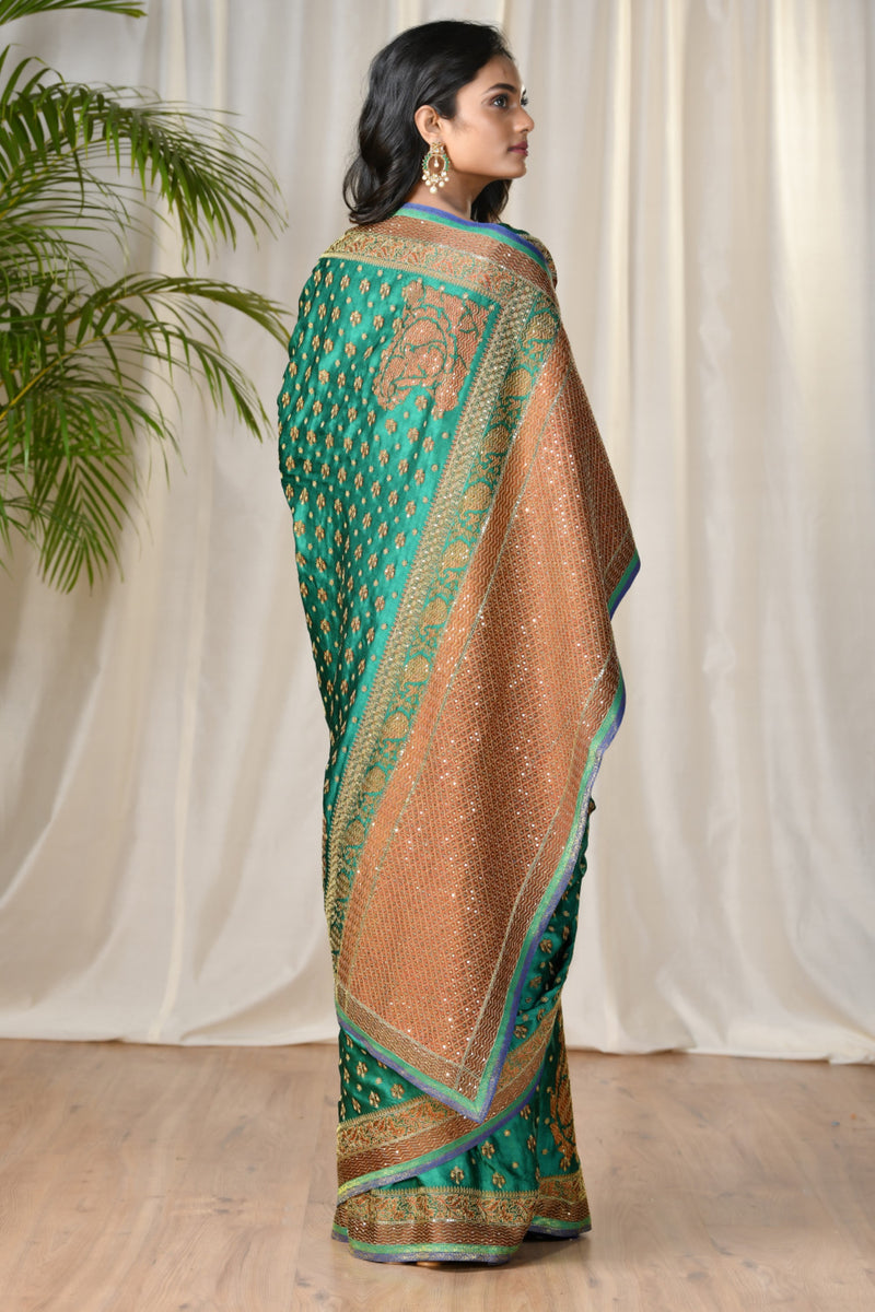 Green Embroidered Paisley Saree
