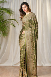 Ritu Kumar - Green Embroidered Paisley Saree - INDIASPOPUP.COM