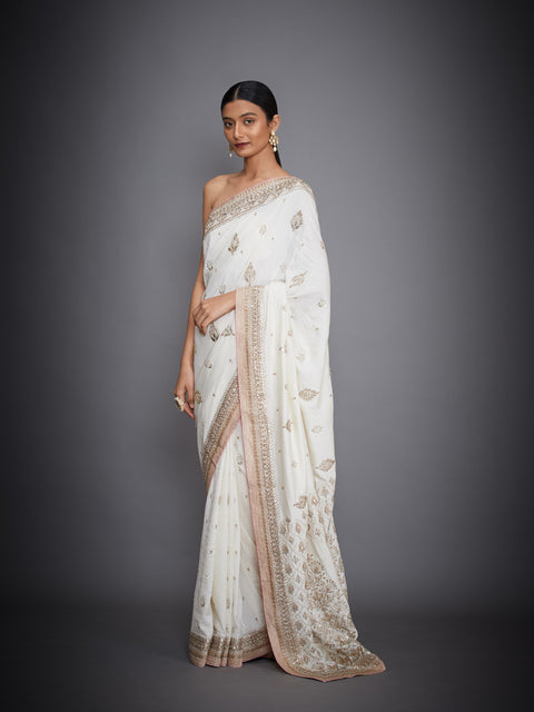 Ri.Ritu Kumar-Ivory Solid Saree With Unstitched Blouse-INDIASPOPUP.COM