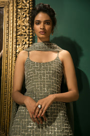 Sanya Gulati-Olive Green Three Layered Sharara Set-INDIASPOPUP.COM