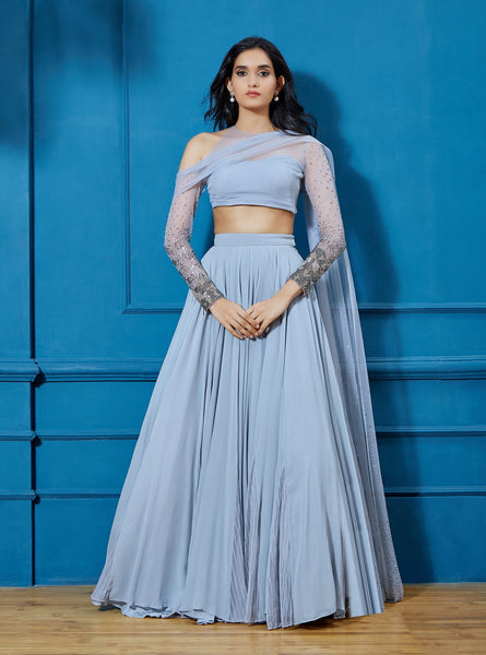 SHLOKA KHIALANI GRAY EMBELLISHED LEHENGA
