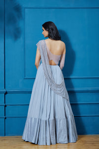 Shloka Khialani - Blue Drop Shoulder Anarkali - INDIASPOPUP.COM
