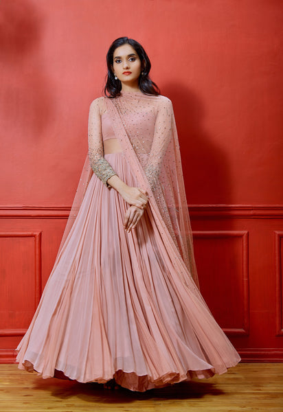 SHLOKA KHIALANI SALMON EMBELLISHED ANARKALI