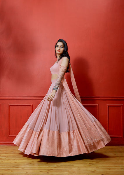 SHLOKA KHIALANI SALMON COLD SHOULDER LEHENGA