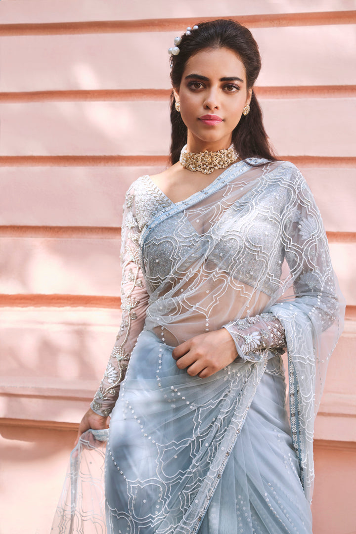 Cloud Blue Embroidered Saree & Blouse