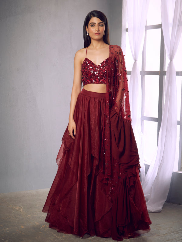 Shloka Khialani-Maroon Embroidered Halter Crop With Skirt Set-INDIASPOPUP.COM