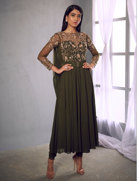 Shloka Khialani-Olive Green Embellished Anarkali With Pants-INDIASPOPUP.COM